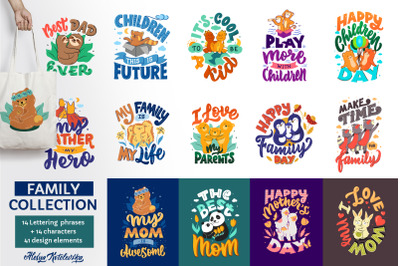 Collection of cartoonish family designs