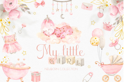 My little girl. Watercolor collection