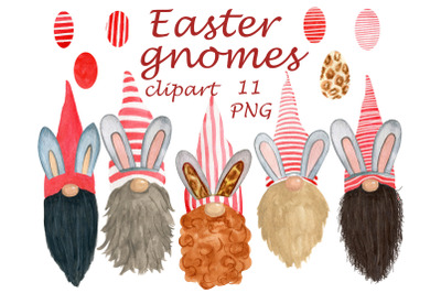 Watercolor easter gnomes clipart