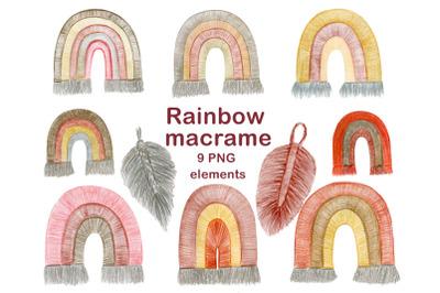 Boho rainbow macrame clipart, Modern clip art