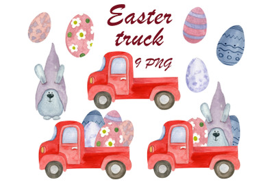 Easter truck cute clipart, Digital easter bunny png, Egg clip art