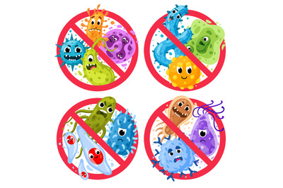 Bacterial protection. Germs in ged round prohibition signs, disinfecti