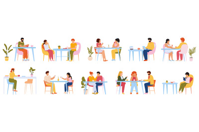 Eating people. Men and women eating meal in cafeteria, at home or rest