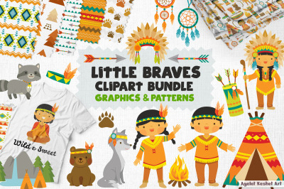 Native American clipart bundle. Cute Indian kids, clipart and patterns