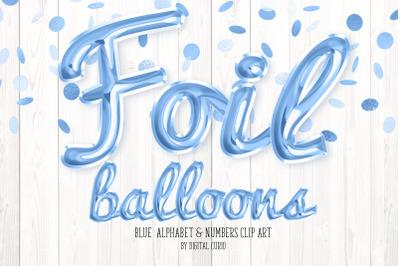 Blue Foil Balloon Script Alphabet