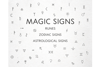 Magic signs, astrological signs, runes in vector, Alchemical symbols