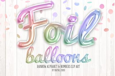 Rainbow Foil Balloon Script Alphabet
