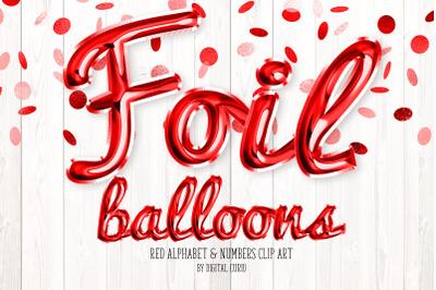 Red Foil Balloon Script Alphabet