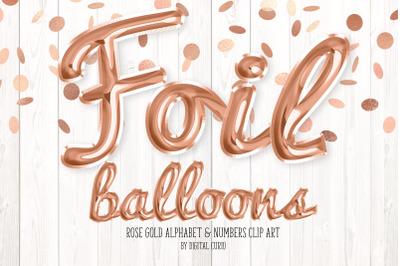 Rose Gold Foil Balloon Alphabet Clipart