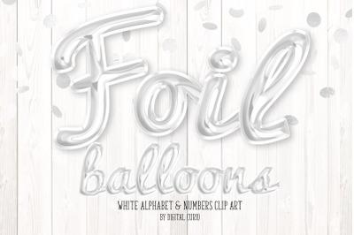 White Foil Balloon Alphabet Clipart