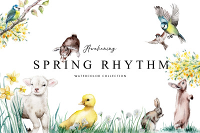 Spring rhythm-watercolor set