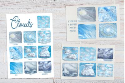 Clouds - Watercolor Clip Art Set