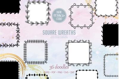 Square Wreaths | Hand Drawn Frames, Floral Borders, Laurel Monogram