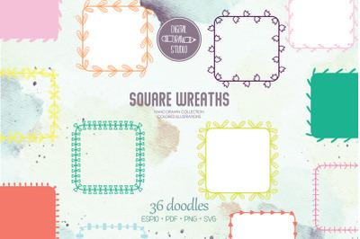 Color Wreaths | Hand Drawn Frames, Floral Borders, Laurel