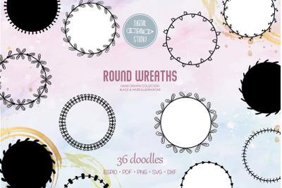 Wreaths | Hand Drawn Round Frames, Floral Borders, Laurel Monogram