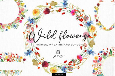 Wild flowers frames and borders