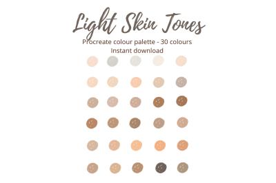 Procreate Light Skin Tones Colour Palette/Swatch X 30 colours