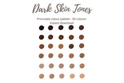 Procreate Dark Skin Tones Colour Palette/Swatch X 30 colours