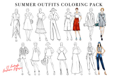 Summer Outfits Coloring Pack Vol. 1 for Fashion Illustration