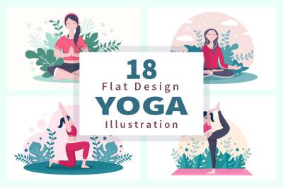 18 Yoga or Meditation Flat Design Vector Illustration
