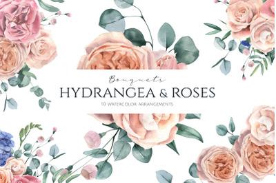Hydrangea and Roses Arrangements