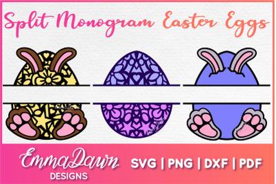 SPLIT MONOGRAM EASTER EGGS SVG 3 Designs