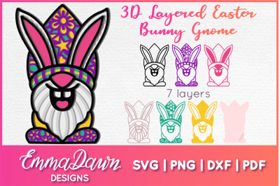 3D LAYERED EASTER BUNNY GNOME SVG