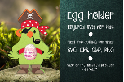 Pirate Parrot - Chocolate Egg Holder Template SVG