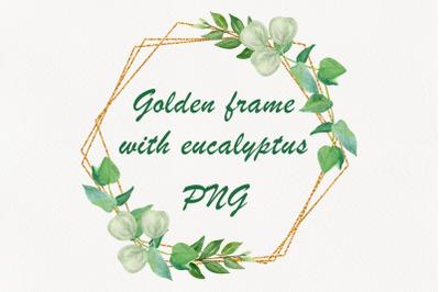 Golden frame eucalyptus leaves clipart