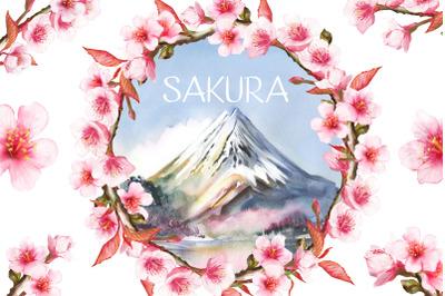 Sakura watercolor set, landscape, mountains, blooming cherry