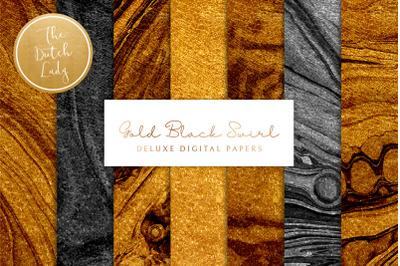 Gold & Black Paint Swirl Textures