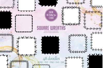 Square Wreaths   Hand Drawn Borders, Floral Frames, Laurel Monogram
