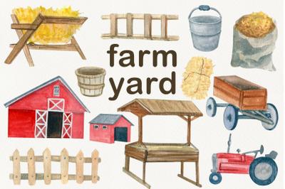 Watercolor creator farm clipart, Red barn, tractor