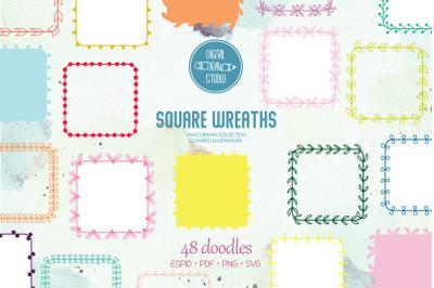 Color Square Wreaths   Hand Drawn Borders, Floral Frames, Laurel