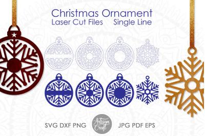 Snowflake ornament&2C; laser cut file&2C; single line