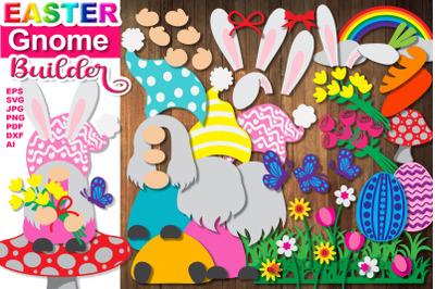 Easter Bunny Gnome Builder Layered SVG Clip Art Set