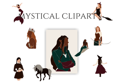 magic characters, clipart vector, Elf Mermaid, witch and unicorn, people in suits, abstract girls, african american