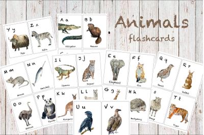 Watercolor ABC Animals Flashcards