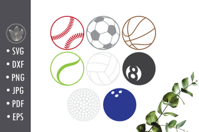 Sport balls SVG cut file, Laser cut, round coaster designs