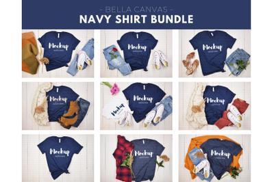 Navy Bella Canvas Shirt Mockup Bundle