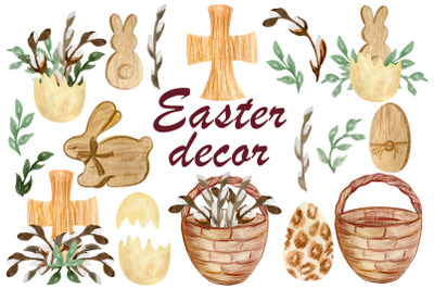 Easter png, Watercolor wood cross, Bunny