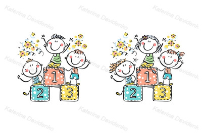 Happy kids - winners of a competition