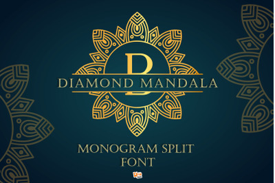 Diamond Mandala Monogram Split Font Duo