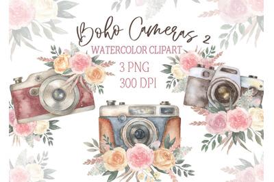 Watercolor Vintage boho Camera with roses Clipart. Retro cameras clip