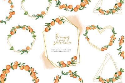 Orange Summer Frame Clipart, Citrus Orange clipart invitation,
