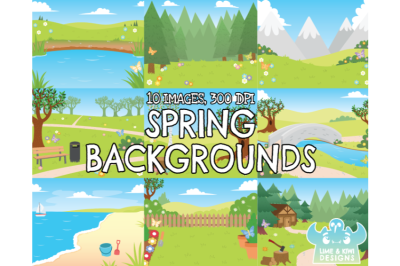 Spring Backgrounds Clipart - Lime and Kiwi Designs