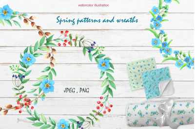 Spring patterns and wreaths