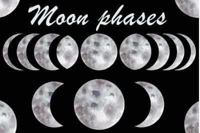 Watercolor phases of the moon, Space clipart