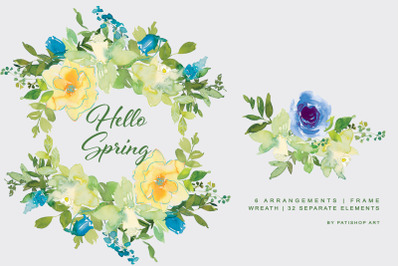 Watercolor Spring Floral Clipart Set