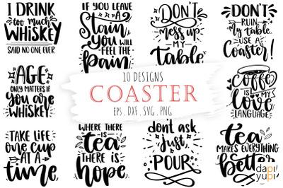 Coaster Bundle, Wine SVG, Coffee SVG, Tea SVG, Whiskey SVG Lettering